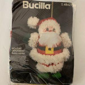 Bucilla Embroidery Holiday Ornament Fuzzy Santa
